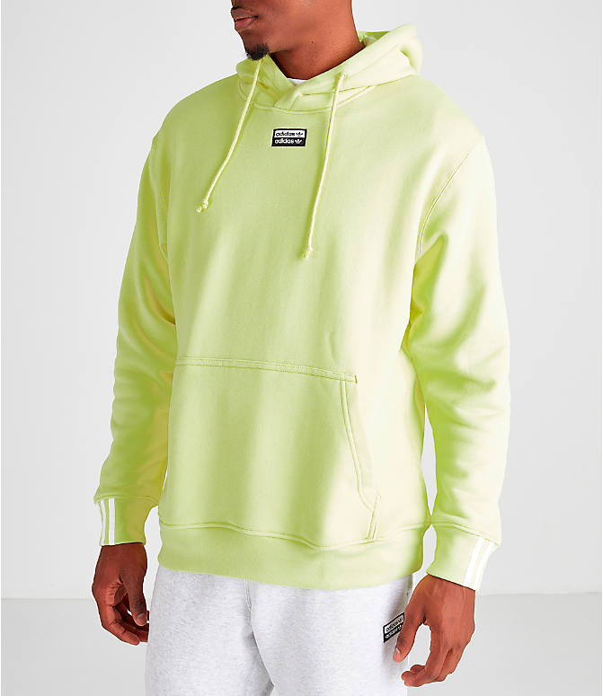Front Three Quarter view of Men's adidas Originals R.Y.V. Hoodie in Ice Yellow