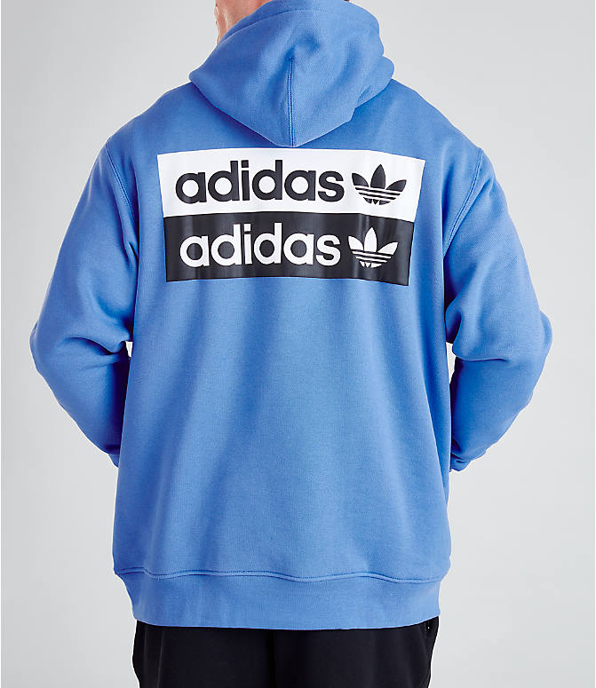 Front view of Men's adidas Originals R.Y.V. Hoodie in Real Blue