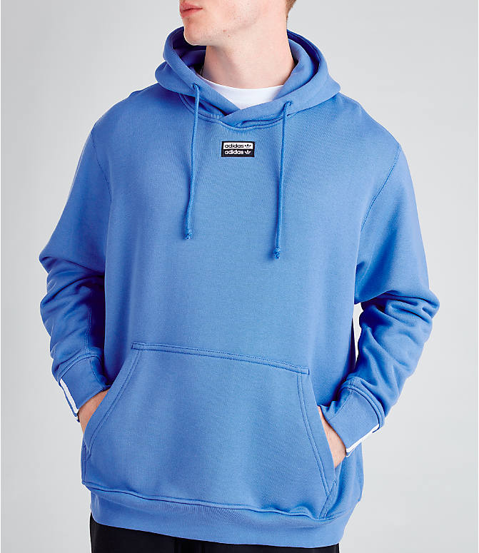 Front Three Quarter view of Men's adidas Originals R.Y.V. Hoodie in Real Blue