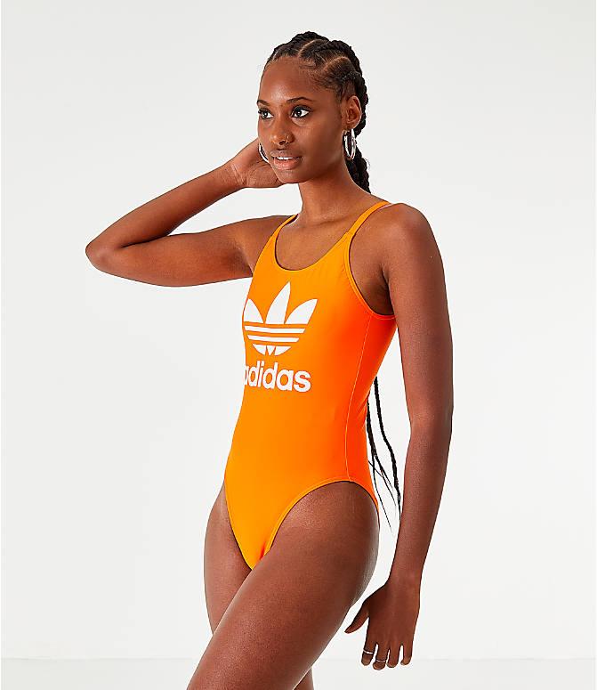 77d231d5 Front view of Women's adidas Originals Trefoil Swimsuit in Orange