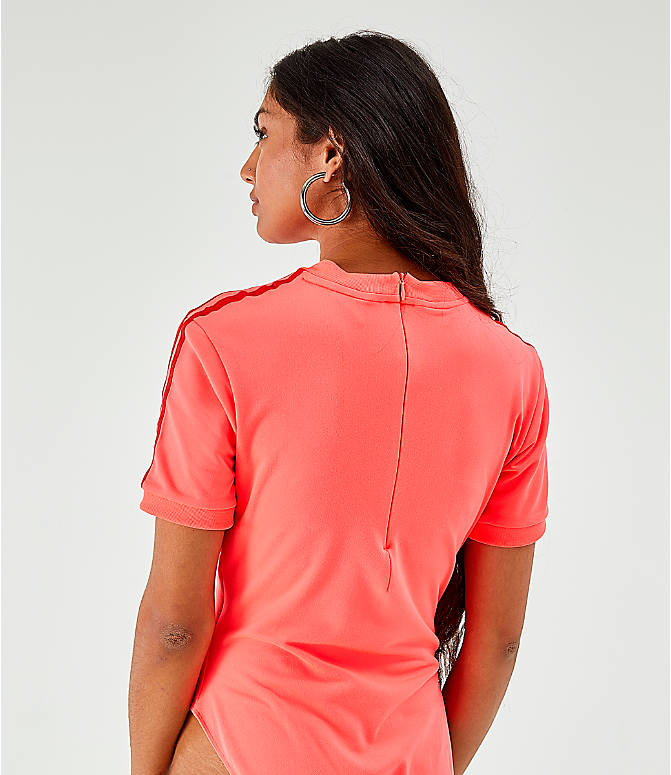 Back Right view of Women's adidas Originals Short-Sleeve Bodysuit in Red