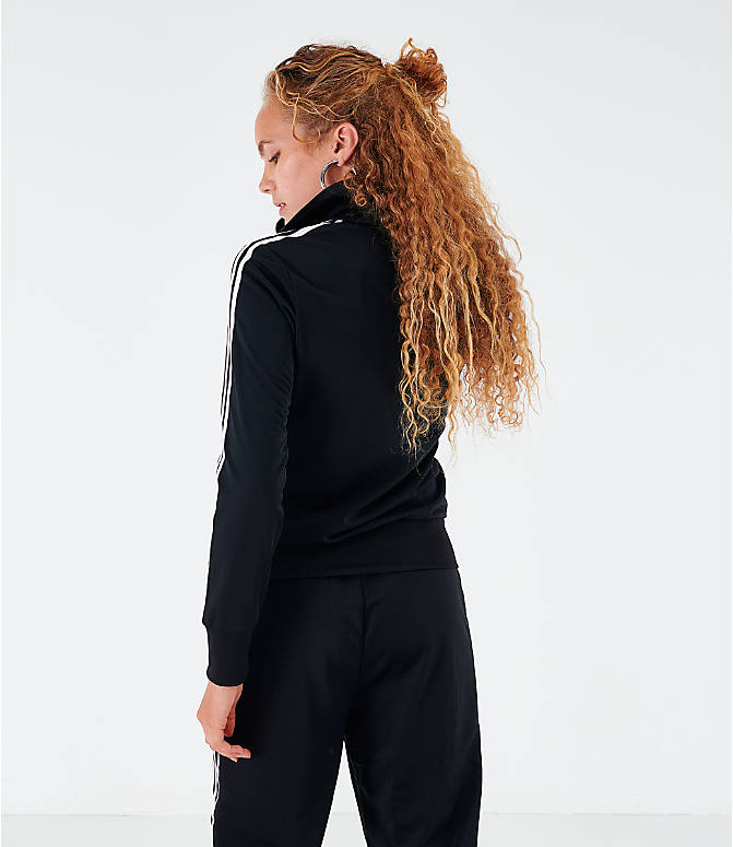 Back Left view of Women's adidas Originals Firebird Track Jacket in Black
