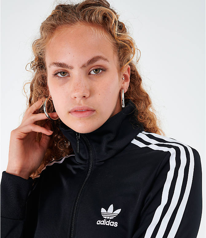 Back Right view of Women's adidas Originals Firebird Track Jacket in Black