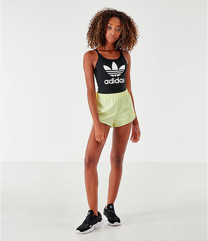 Front Three Quarter view of Women's adidas Originals Trefoil Skinny Strap Swimsuit in Black/White