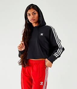 Women's adidas Originals 3-Stripes Cropped Hoodie