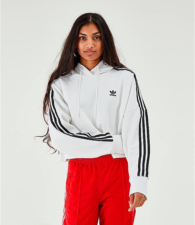 55542111 Women's adidas Originals Striped Cropped Hoodie