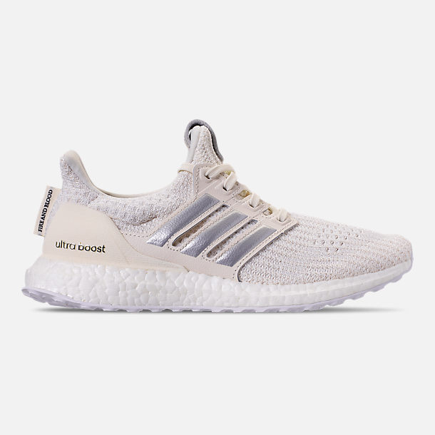 Right view of Women's adidas UltraBOOST 4.0 Running Shoes in White/Silver/Black