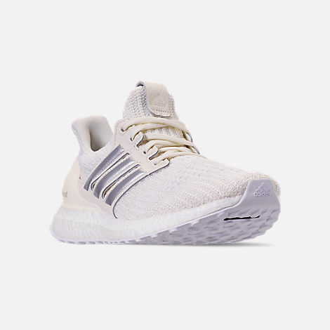Three Quarter view of Women's adidas UltraBOOST 4.0 Running Shoes in White/Silver/Black