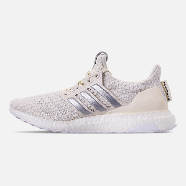 Left view of Women's adidas UltraBOOST 4.0 Running Shoes in White/Silver/Black