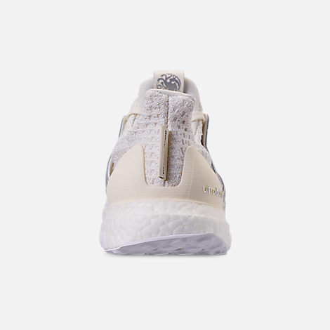 Back view of Women's adidas UltraBOOST 4.0 Running Shoes in White/Silver/Black