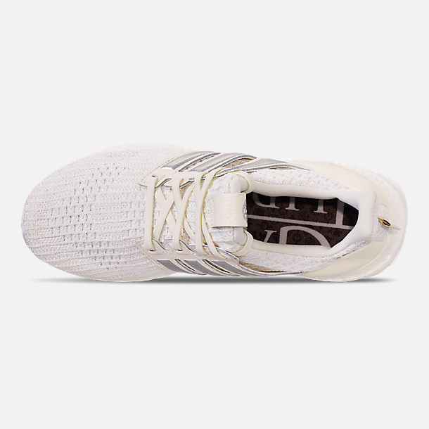 Top view of Women's adidas UltraBOOST 4.0 Running Shoes in White/Silver/Black