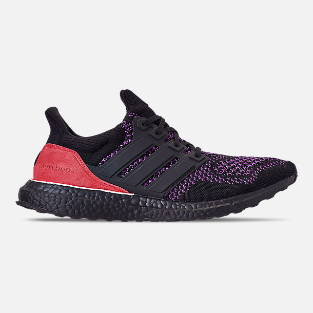 Right view of Men's adidas UltraBOOST 1.0 Knit Running Shoes in Core Black/Action Purple/Shock Red