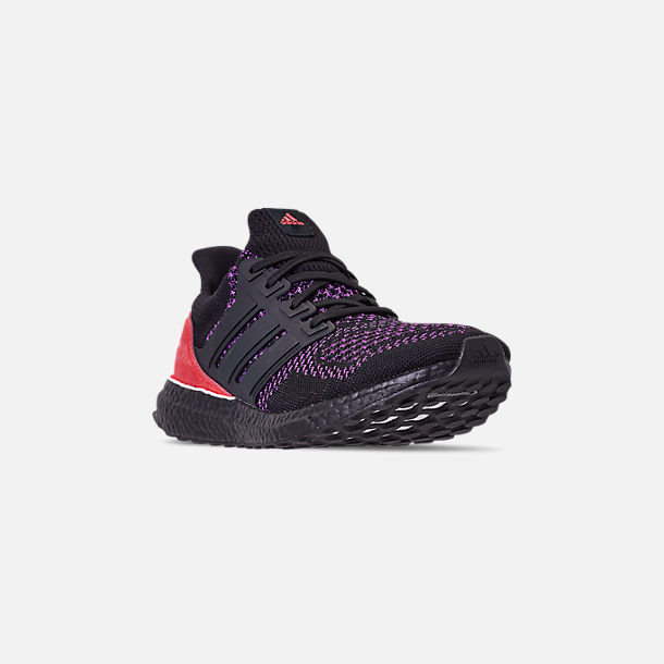 Three Quarter view of Men's adidas UltraBOOST 1.0 Knit Running Shoes in Core Black/Action Purple/Shock Red