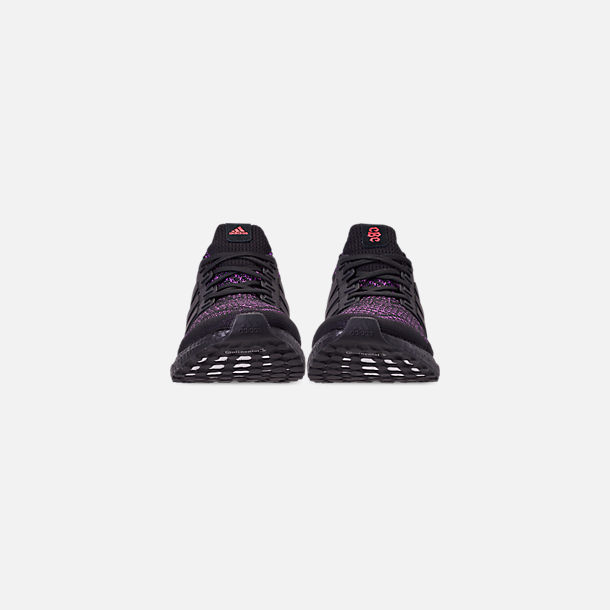 Front view of Men's adidas UltraBOOST 1.0 Knit Running Shoes in Core Black/Action Purple/Shock Red