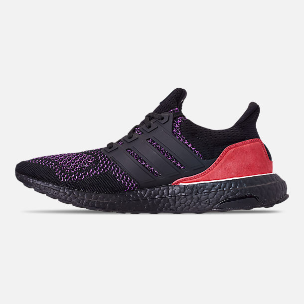 Left view of Men's adidas UltraBOOST 1.0 Knit Running Shoes in Core Black/Action Purple/Shock Red