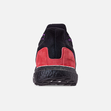 Back view of Men's adidas UltraBOOST 1.0 Knit Running Shoes in Core Black/Action Purple/Shock Red