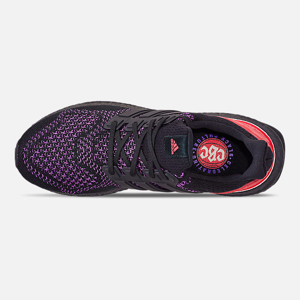 Top view of Men's adidas UltraBOOST 1.0 Knit Running Shoes in Core Black/Action Purple/Shock Red