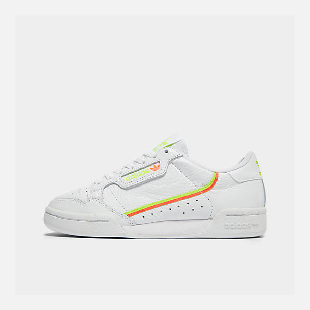 Right view of Women's adidas Originals Continental 80 Casual Shoes in White/Yellow/Orange