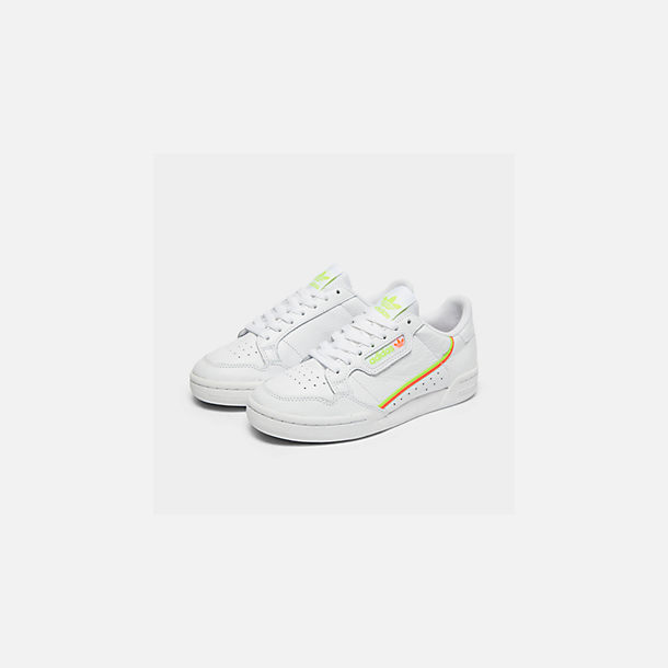 Three Quarter view of Women's adidas Originals Continental 80 Casual Shoes in White/Yellow/Orange