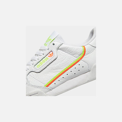 Front view of Women's adidas Originals Continental 80 Casual Shoes in White/Yellow/Orange