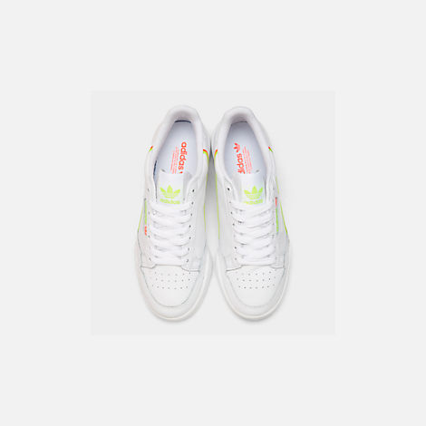 Back view of Women's adidas Originals Continental 80 Casual Shoes in White/Yellow/Orange