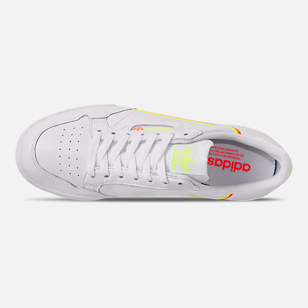 Top view of Women's adidas Originals Continental 80 Casual Shoes in White/Yellow/Orange