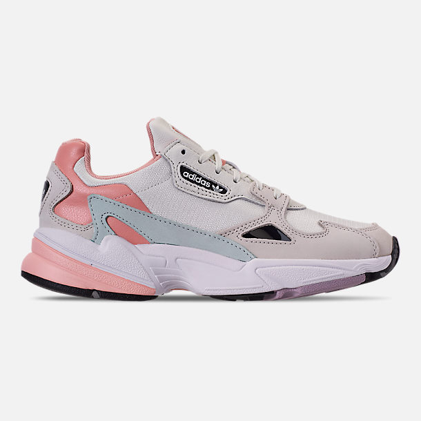 Right view of Women's adidas Originals Falcon Casual Shoes in White Tiny/Raw White/Trace Pink