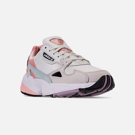 Three Quarter view of Women's adidas Originals Falcon Casual Shoes in White Tiny/Raw White/Trace Pink