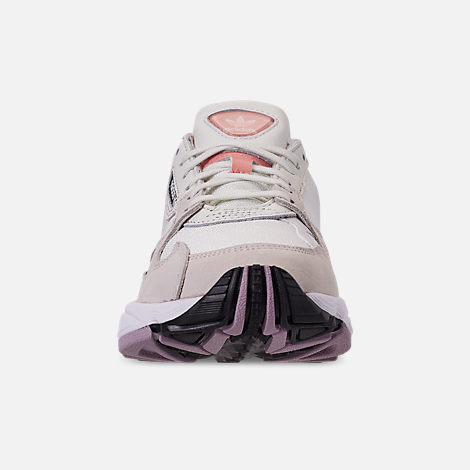 Front view of Women's adidas Originals Falcon Casual Shoes in White Tiny/Raw White/Trace Pink
