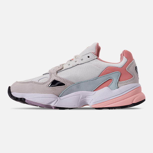 Left view of Women's adidas Originals Falcon Casual Shoes in White Tiny/Raw White/Trace Pink