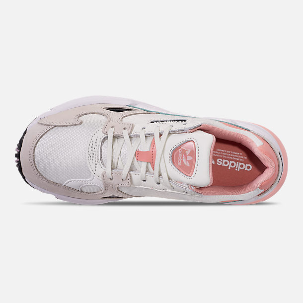 Top view of Women's adidas Originals Falcon Casual Shoes in White Tiny/Raw White/Trace Pink