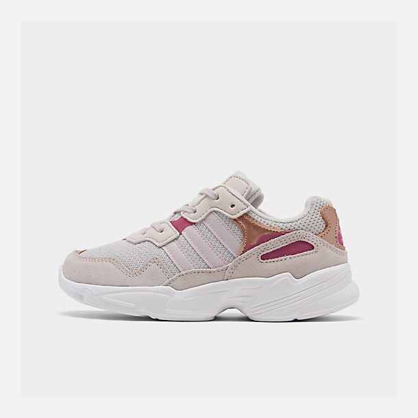 Right view of Girls' Little Kids' adidas Originals Yung-96 Casual Shoes in Grey Two/Orchid Tint/True