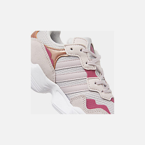 Front view of Girls' Little Kids' adidas Originals Yung-96 Casual Shoes in Grey Two/Orchid Tint/True