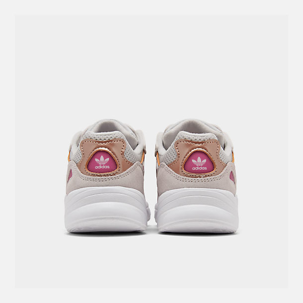 Left view of Girls' Little Kids' adidas Originals Yung-96 Casual Shoes in Grey Two/Orchid Tint/True