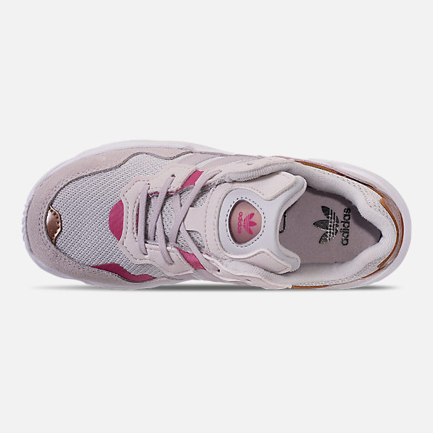 Top view of Girls' Little Kids' adidas Originals Yung-96 Casual Shoes in Grey Two/Orchid Tint/True