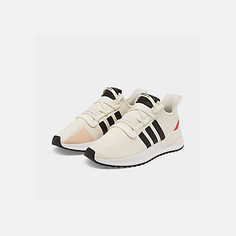 Three Quarter view of Men's adidas U_Path Run Casual Shoes in Off White/Core Black/Shock Red