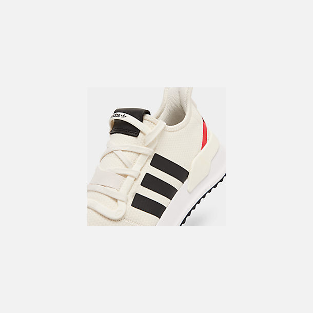 Front view of Men's adidas U_Path Run Casual Shoes in Off White/Core Black/Shock Red