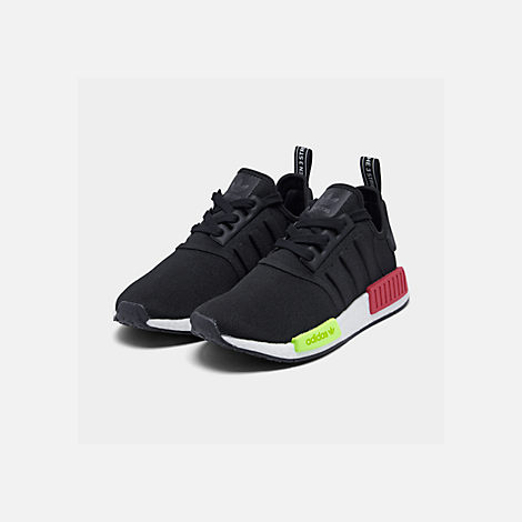 Three Quarter view of Men's adidas NMD Runner R1 Casual Shoes in Core Black/Core Black/Energy Pink