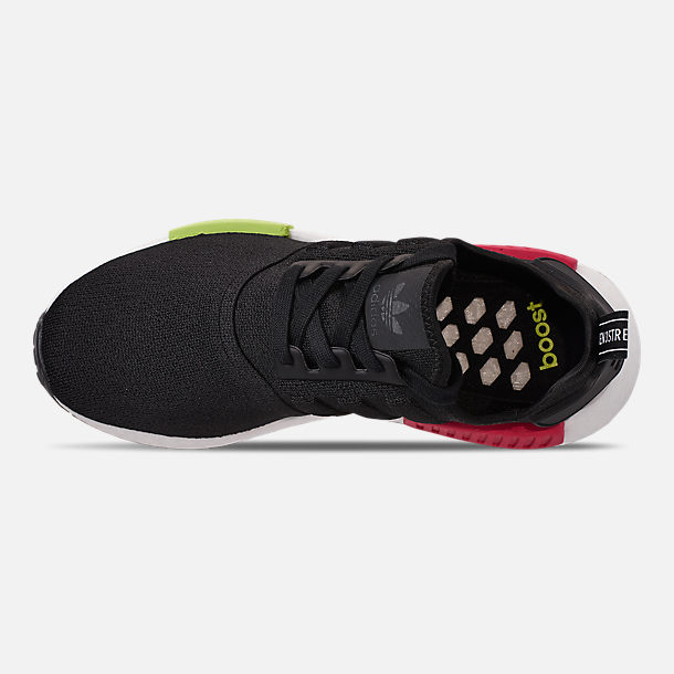 Top view of Men's adidas NMD Runner R1 Casual Shoes in Core Black/Core Black/Energy Pink