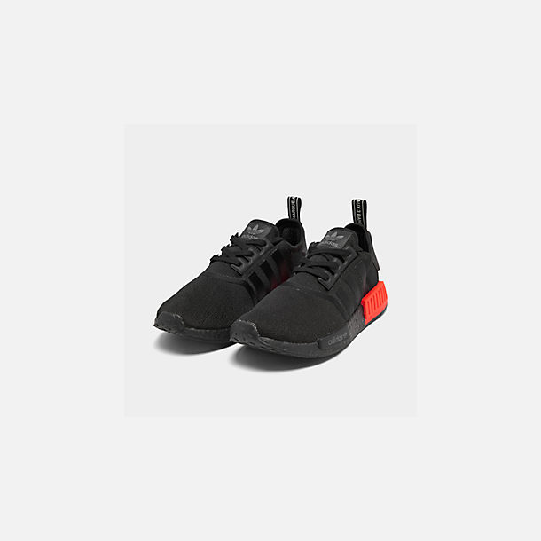 Three Quarter view of Men's adidas NMD Runner R1 Casual Shoes in Core Black/Core Black/Solar Red