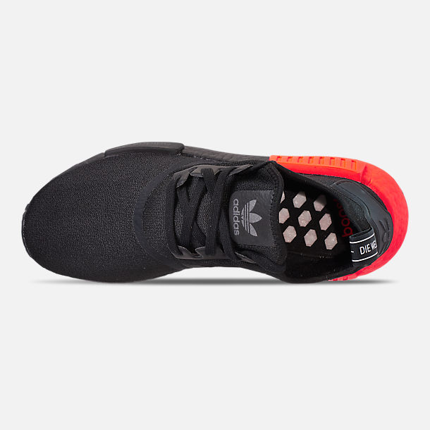 Top view of Men's adidas NMD Runner R1 Casual Shoes in Core Black/Core Black/Solar Red