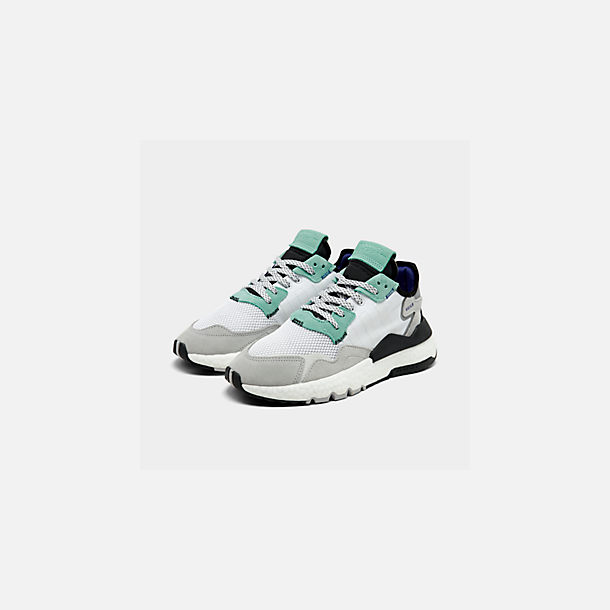 Three Quarter view of Men's adidas Originals Nite Jogger Casual Shoes in Footwear White/Footwear White/Easy