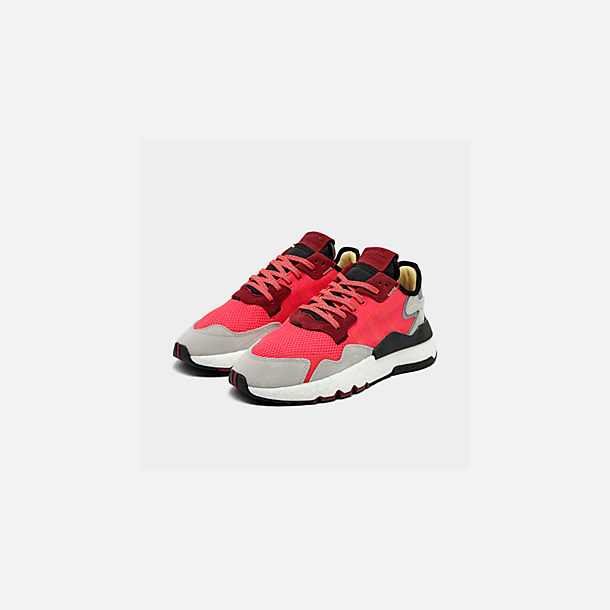 Three Quarter view of Men's adidas Originals Nite Jogger Casual Shoes in Shock Red/Shock Red/Grey Two F17