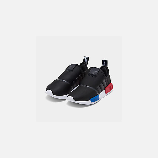 Three Quarter view of Boys' Little Kids' adidas Originals NMD 360 Casual Shoes in Core Black/Core Black/Footwear White