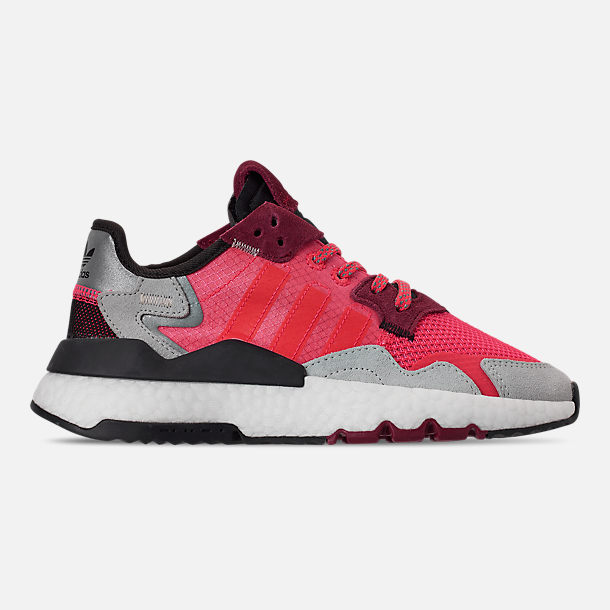 Right view of Big Kids' adidas Originals Nite Jogger Casual Shoes in Shock Red/Shock Red/Grey Two F17