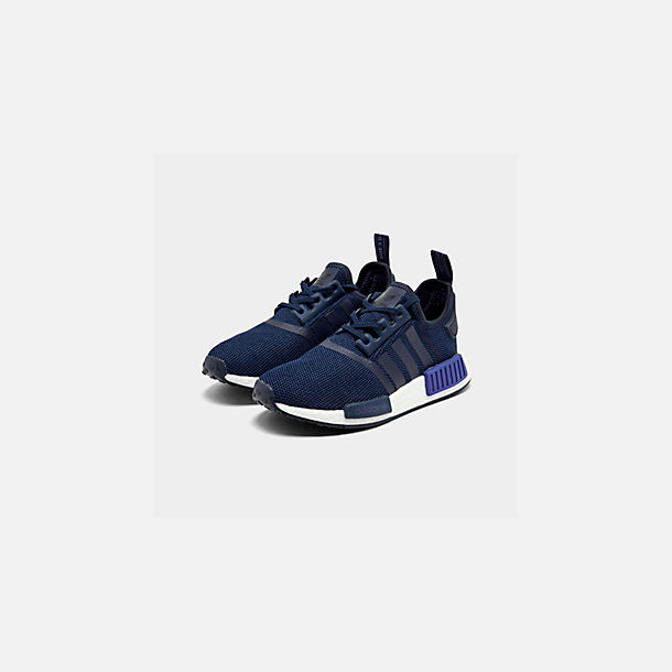 Three Quarter view of Boys' Big Kids' adidas NMD R1 Casual Shoes in Collegiate Navy/Collegiate Navy/Act