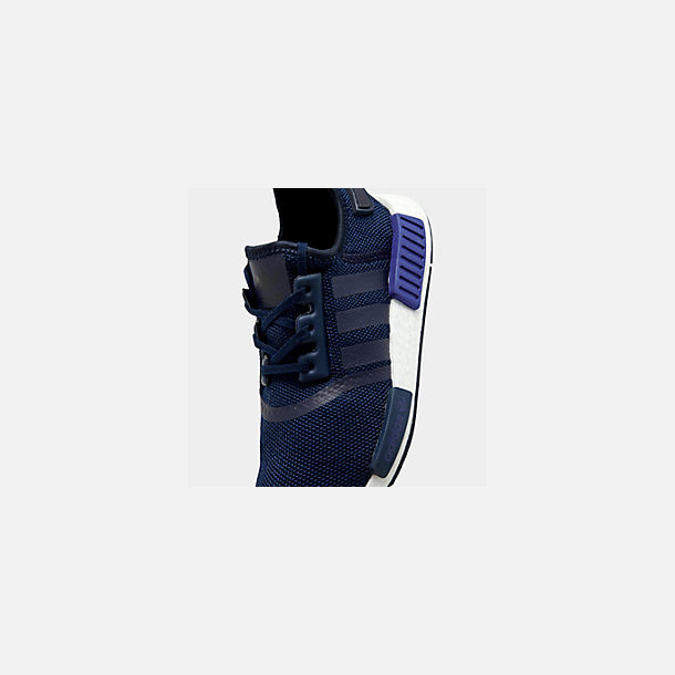Front view of Boys' Big Kids' adidas NMD R1 Casual Shoes in Collegiate Navy/Collegiate Navy/Act