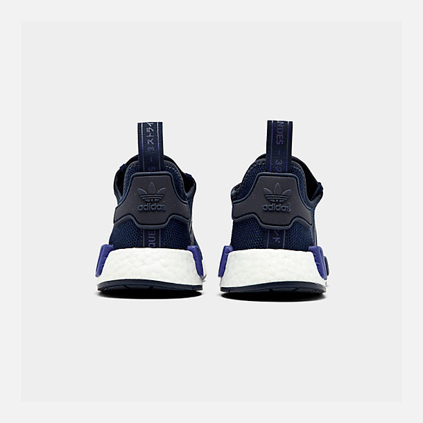Left view of Boys' Big Kids' adidas NMD R1 Casual Shoes in Collegiate Navy/Collegiate Navy/Act