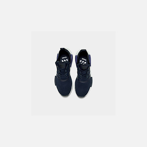 Back view of Boys' Big Kids' adidas NMD R1 Casual Shoes in Collegiate Navy/Collegiate Navy/Act