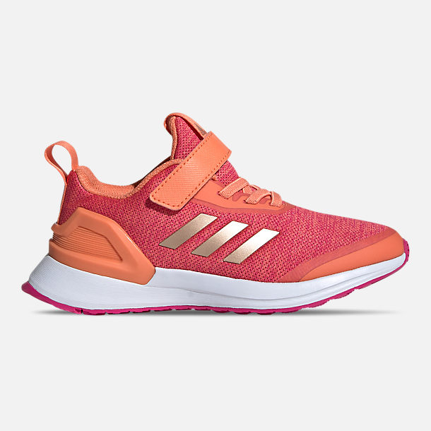 Right view of Little Kids' adidas RapidaRun X Running Shoes in Semi Coral/Copper Metallic/Real Magenta